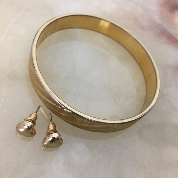 Bundle gold Monet bangle bracelet heart earrings